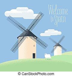 Mills in Spain vector illustration. Landscape of rural Spain