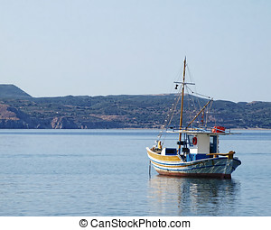 Greece, traditional fishing boat - Milos island Greece,...