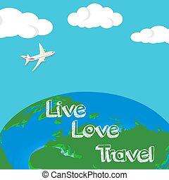milstolpar, klar, väg, resa, tourism., resor, idea., bakgrund, world., trip., design, globe., lägenhet, illustration., resa, dig