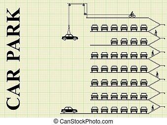 milti, verdieping, auto park