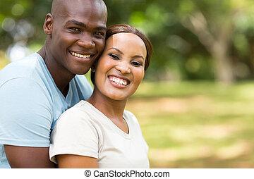 milující, afričan, dvojice