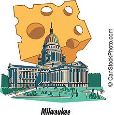 milwaukee, capitolio de wisconsin, queso