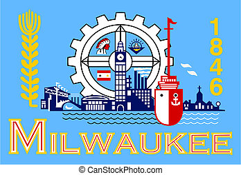 Flag of Millwaukee city in the U.S.A