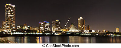 milwaukee, horizon, nuit