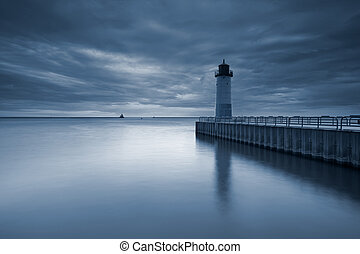 Toned image of the Milwaukee Lighthouse at sunset.