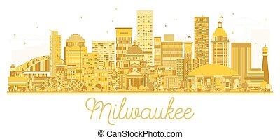 milwaukee, orizzonte, dorato, città, silhouette.