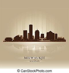 milwaukee, siluetta skyline, città, wisconsin