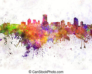 Milwaukee skyline in watercolor background