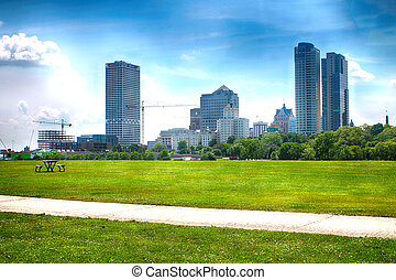 Milwaukee Skyline shot from the lake front