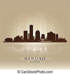 milwaukee, skyline silhouette, stadt, wisconsin