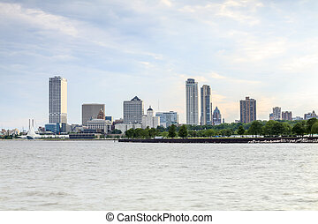 Milwaukee skyline taken from the port, Wisconsin, USA