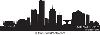 milwaukee, wisconsin, skyline., detalhado, vetorial, silueta