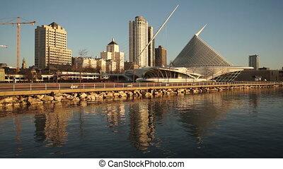 Milwaukee Wisconsin Waterfront Urban City Skyline Lake...