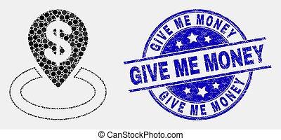 mim, angústia, dar, selo, dinheiro, vetorial, localização, selo, ícone, banco, pixelated
