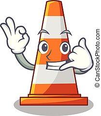 mim, argaet, contra, chamada, cone, tráfego, mascote