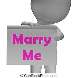 mim, casar, obrigação, sinal, casamento, proposta, mostra