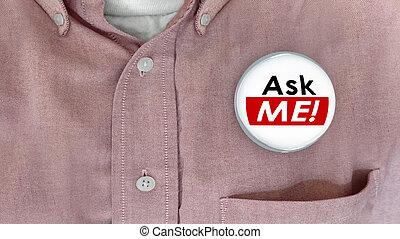 mim, cliente, alfinete, apoio, pergunta, respostas, ilustração, perguntar, botão, 3d