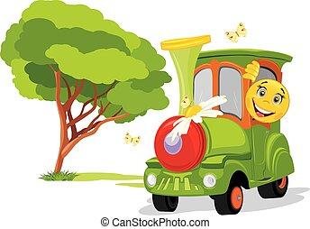 mim, crianças, always, ensolarado, trem, infancia, divertimento, park.