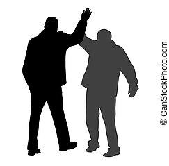 mim, dar, sucedido, dois, cinco, homens negócios, entre, gesto