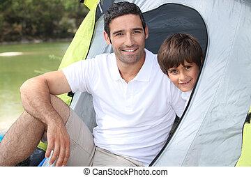 mim, papai, levado, camping.