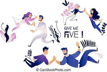 mim, pares, jogo, pessoas, dar, dar, -, alto, outro, cinco, cada, vário, five., gesto