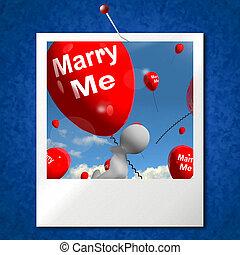 mim, representa, foto, casar, obrigação, amante, proposta, balões