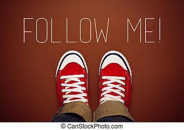 mim, seguir, conceito, pedido