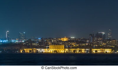 Mimar Sinan University night timelapse. View of besiktas district in istanbul taken from asian part of the city.
