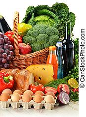 mimbre, vegetales, comestibles, fruits, cesta, incluso