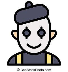 Mime avatar, Halloween costume vector icon - Mime avatar ...