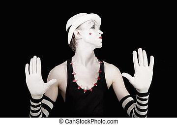 mime, gants, fond, noir, rayé, chapeau, blanc, singe