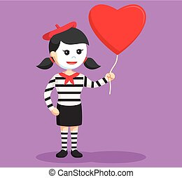 mime girl with heart shape balloon