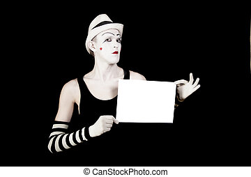 mime holding a white blank