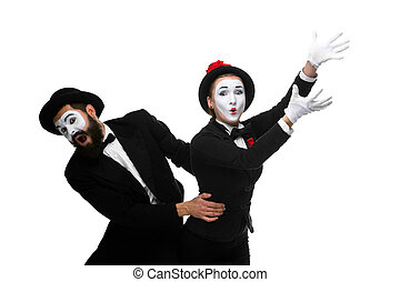 mime holding another one up and running