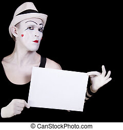 mime holding white blank