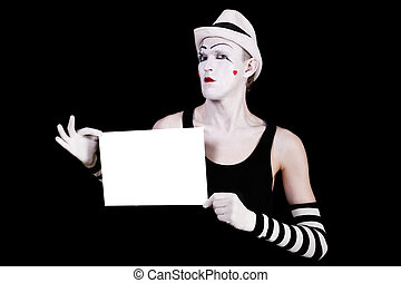 mime in striped gloves and white hat holding white blank