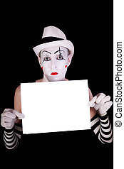 mime in striped gloves  holding white blank