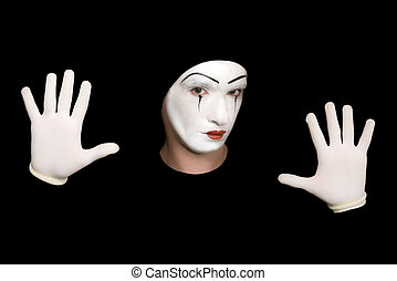 mime isolated on a black background