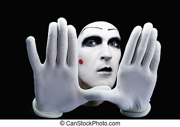 mime isolated on black background - portrait of the mime...