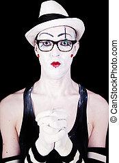 mime, lunettes, théâtre, portrait