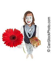 mime művész, noha, virág, -, gerber, és, kitart tehetség