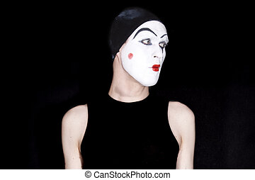 mime on a black background