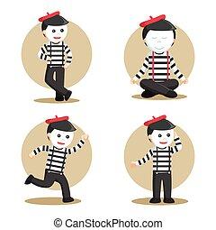 mime people set illustration design