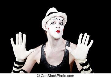 mime, rayé, gants, chapeau blanc
