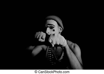 mime - Portrait of an actor with makeup mime