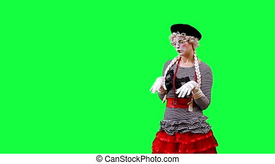 Mime typing on the keyboard. This clip is pre-matted with an...