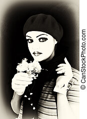 mime with a flower