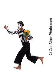 Mime with bunch of flowers isolated on white
