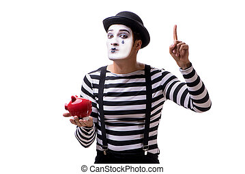Mime with piggybank isolated on white background