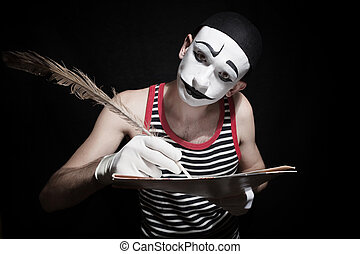 Mime with quill - Portrait of mime with quill on black...